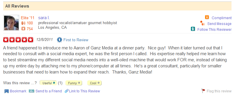 GANZ Media gets our first Yelp Review!