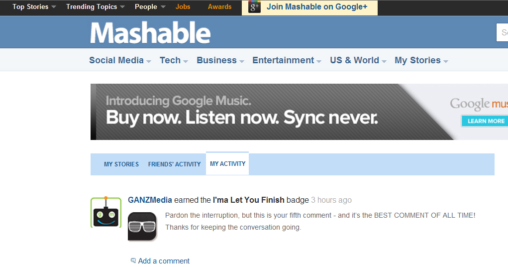 "GANZ Media wins Mashable ""Best Comment of All Time""!"